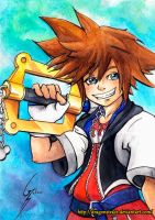 Sora - kh1 watercolor by DragonsTrace