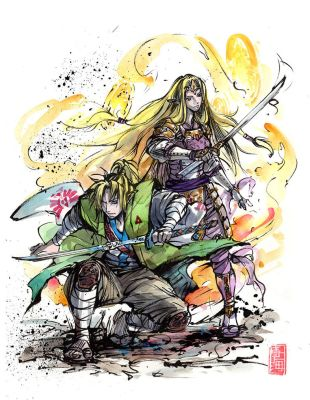 Samurai Link and Zelda together by MyCKs