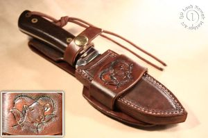 Hand carved dyed and sewn leather sheath WESTERN by LeszekGyver
