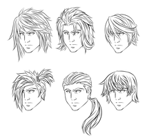 Anime Male Hairstyles by CrimsonCypher