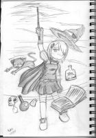 Chibi Witch Casting Spell by Ed5070
