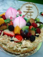 Longevity Peach Fruit Cake by Sliceofcake