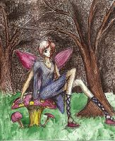 Fairy on a Toadstool by PacWoman