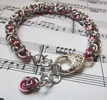 Pink and silver chainmaille bracelet by TerraNovaJewels