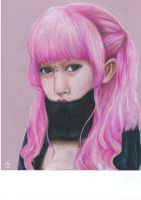pink-haired girl by shellanime