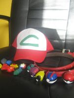 Ash Hat, pokeballs, and badges by SimplySaraArt