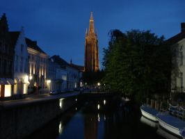 Bruges43 - Night Canal by Lutra-Gem