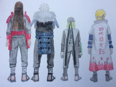 Four hokage watercolor painting by seakliff
