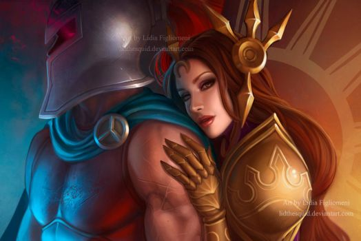 LOL Pantheon and Leona by LidTheSquid