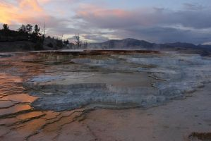 Travertine Pools at Sunset by papatheo