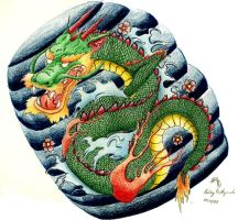 Japanese Dragon Tattoo Design by SketchbookFlavor