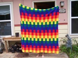 crocheted rainbow afghan by crochetty-spinner