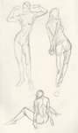 Muscle Girl Nude sketch by AVasquezArt