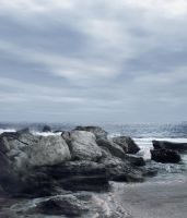 Rocky beach Premade BG Stock by feathersnchains