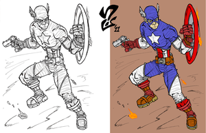 Avengers: Captain America inks + flats by Grigori77