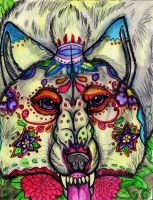 Sugar Skull Wolf by Senwolf10
