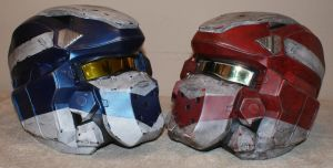 Red and Blue halo 4 Warrior helmets by Hyperballistik