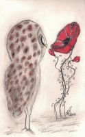 Owl and the Red Poppy by InkyDreamz