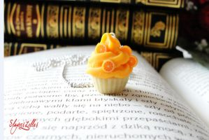 Polymer clay orange cookie necklace by Benia1991