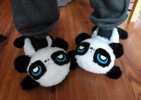 Pouty Panda Slippers by loveandasandwich