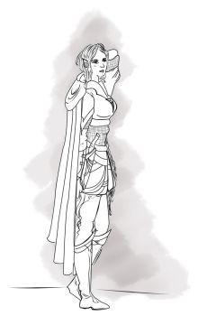 Nimarilien Elf - Line Work by SibylWhite