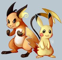 Day 10 - Pikachu, Raichu by SpaceSmilodon