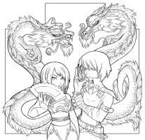 Dragons - lineart by areve