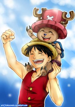 Speedpaint-Luffy and Chopper by KuroNeko-art