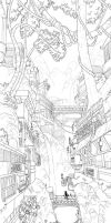 waterfall city - lineart W.I.P by Sheharzad-Arshad