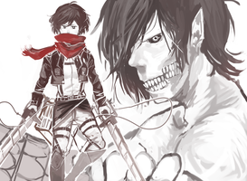 Mikasa and titan eren - snk by LaWeyD