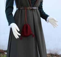 Close up of the fitted wool gown and pouch by CenturiesSewing