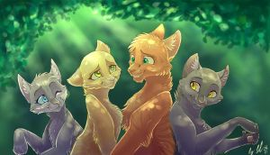 Cinderpelt, Sandstorm, Fireheart and Graystripe by WhiteLily24