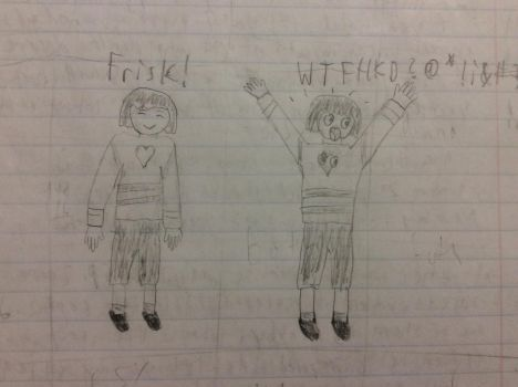 Casually Happy and WTF Frisk drawing by Andrew-avyx