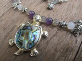 Silver and Shell Turtle Necklace Closeup 2 by Windthin