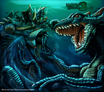 MHtri Hunter VS lagiacrus by wyvernsmasher