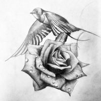 Swallow and Rose by dazzbishop