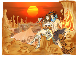 Far West into the sunset by Spizzina00
