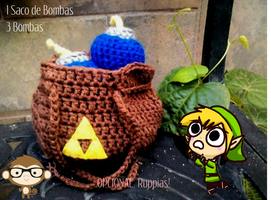 Crocheted Link's Bomb Bag by 15cocopuffs