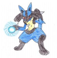 Lucario used Aura Sphere! by Ketaster