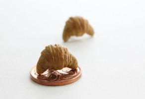 Polymer Clay Croissant Stud Earrings by ChroniclesOfKate