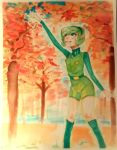 Saria In a Fall Forest - watercolors by UglyTree