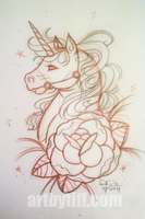 Unicorn Tattoo Sketch by tifftoxic