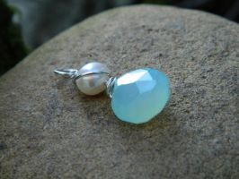 Pale Aqua Blue Chalcedony and Pearl Pendant by QuintessentialArts