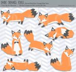 /// Orange + Black Fox Clip Art Set /// by guava