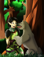 Grey Warden and his friend by BlackDema