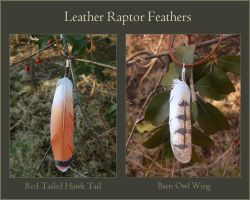 Leather Feathers - Red-tail and Barn Owl by windfalcon