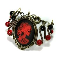 Steamgoth Bracelet Red Skeleton by CatherinetteRings