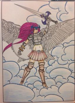 Angel Warrior - Adult Coloring by LFHaven