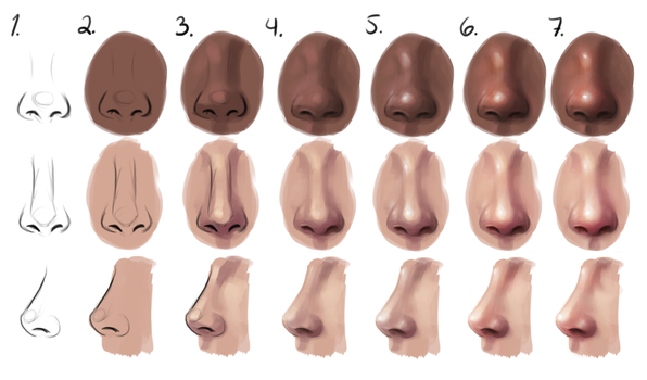 Semi-realism nose - step by step by Sandramalie