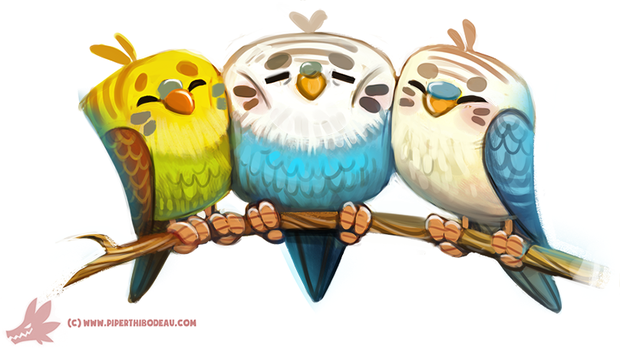 Daily Paint #1121. My Old Budgies by Cryptid-Creations
